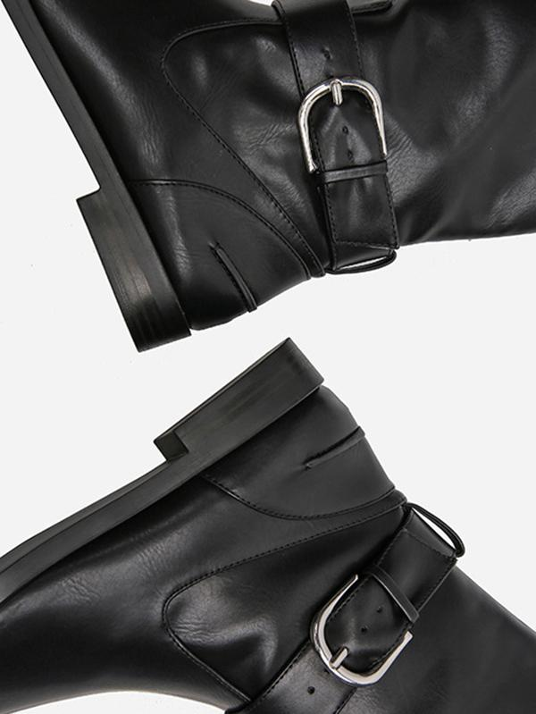Solid Side-zipper Low Heels Leather Knee Boots BLACK 38