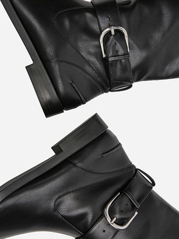 Image of Solid Side-zipper Low Heels Leather Knee Boots BLACK 38