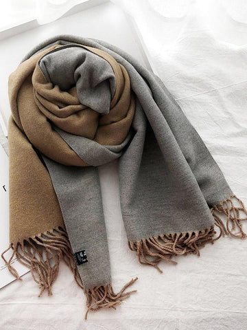 Image of Two-sided Cotton Warmer Scarf PINK