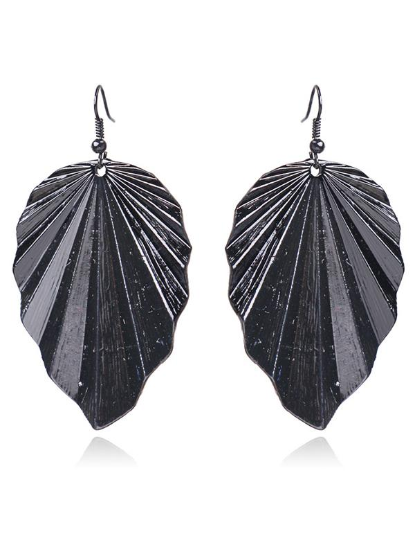Irregular Leaf Earrings Accessories BLACK FREE SIZE