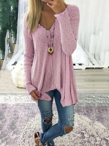 Loose Solid Color Long Sleeves Sweater Tops COFFEE 2XL