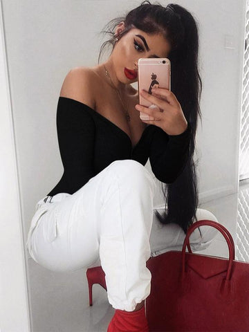 Image of Off Shoulder Sexy Solid Bohemia Jumpsuits BLACK L