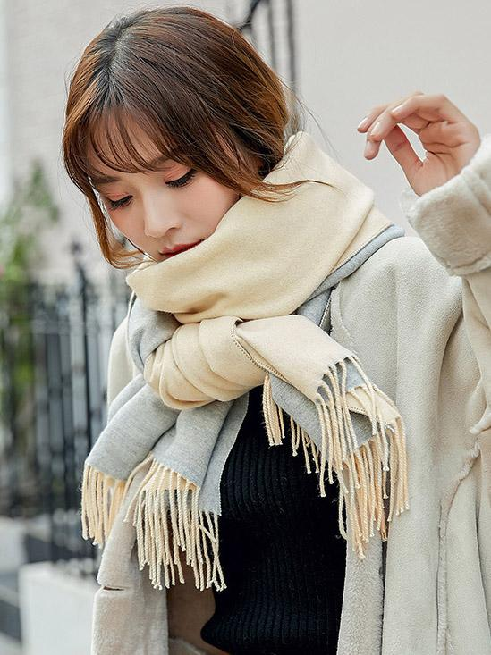 Both-side Warm Tasseled Super Long Scarf COFFEE FREE SIZE