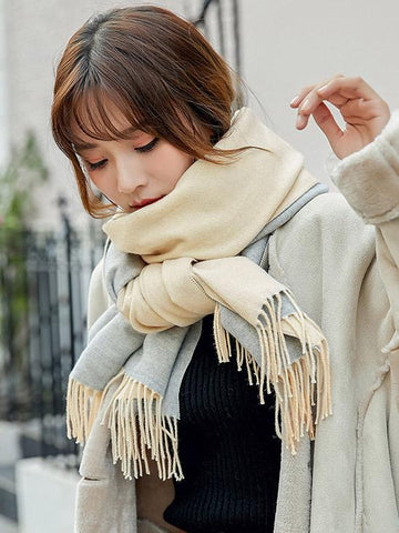 Image of Both-side Warm Tasseled Super Long Scarf COFFEE FREE SIZE