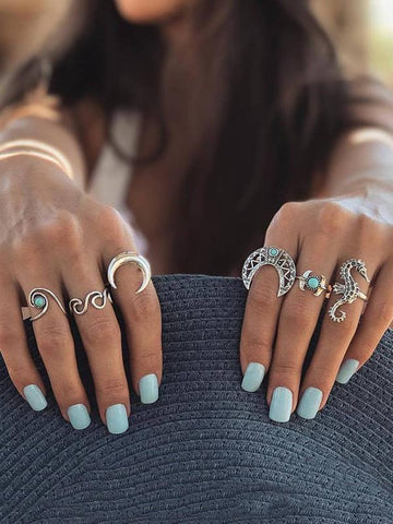 Vintage 6PCS Turquoise Rings Accessories SLIVER