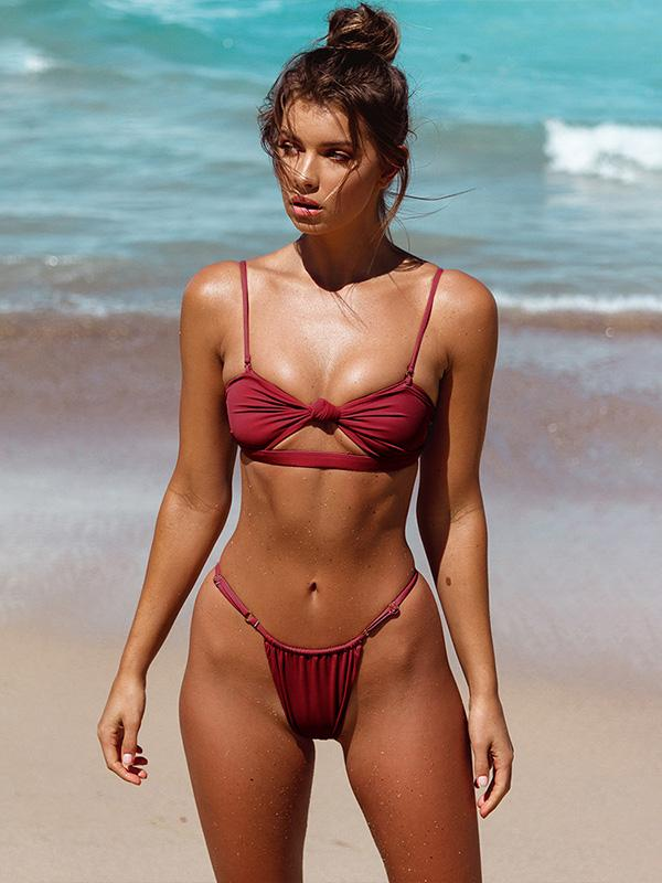 Plain Sexy Padded Bikinis Swimwear RED XL