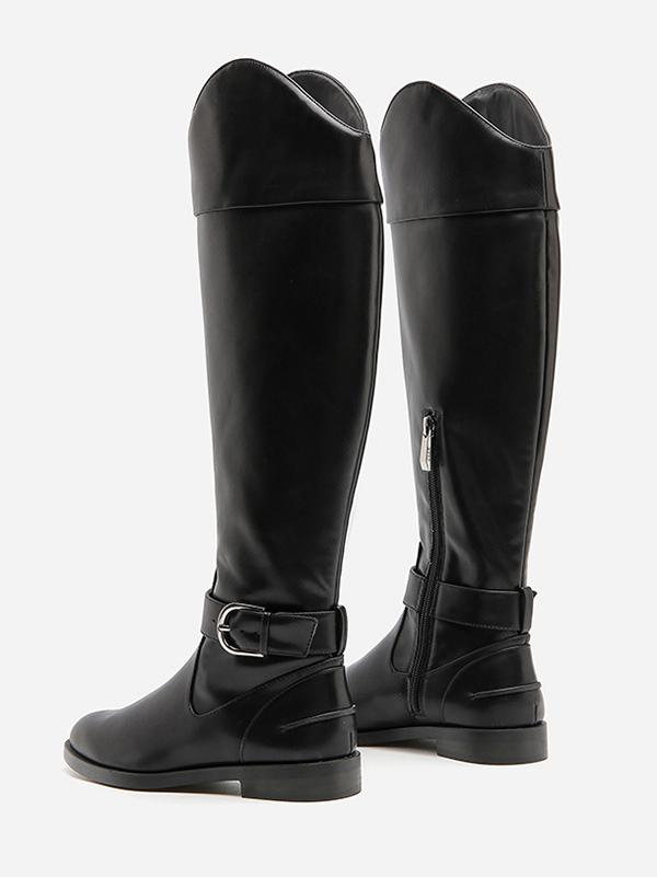 Solid Side-zipper Low Heels Leather Knee Boots BLACK 34