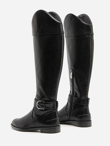 Image of Solid Side-zipper Low Heels Leather Knee Boots BLACK 34
