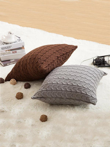 Image of Solid Knitted Textured Pillow Case CREAM FREE SIZE