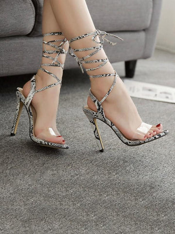 Image of Peep Toe Snake Pattern Thin Heels SAME AS PICTURE 39