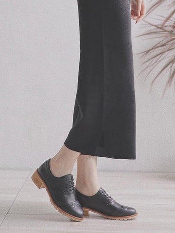 Image of Vintage Solid Leather Shoes BLACK 39