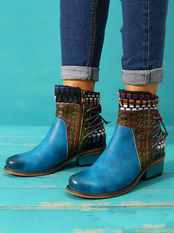 Bohemia Knitting Leather Booties BLUE 39