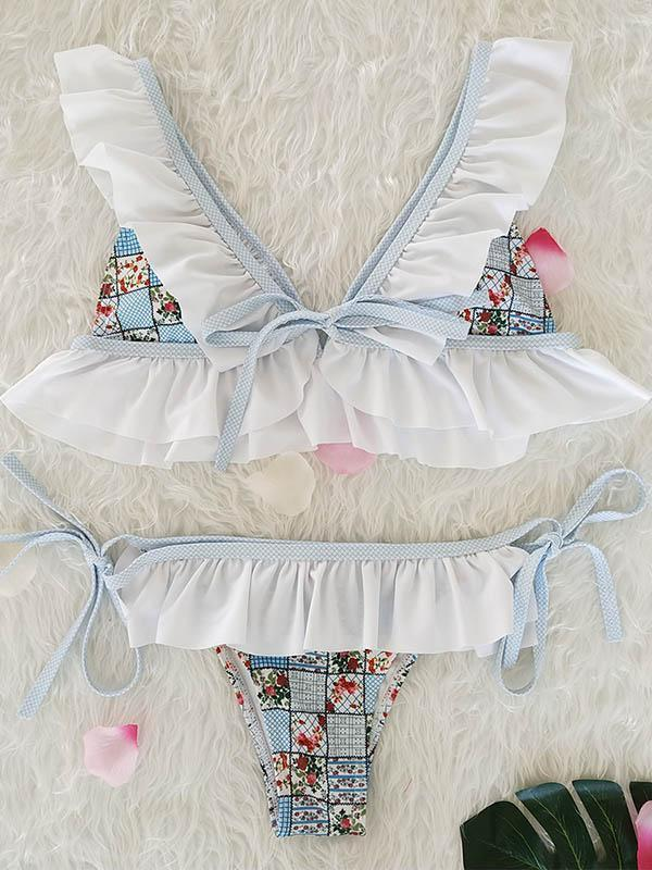 Falbala Ruffled Tied Bikinis Swimwear WHITE M