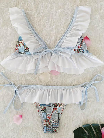 Image of Falbala Ruffled Tied Bikinis Swimwear WHITE M