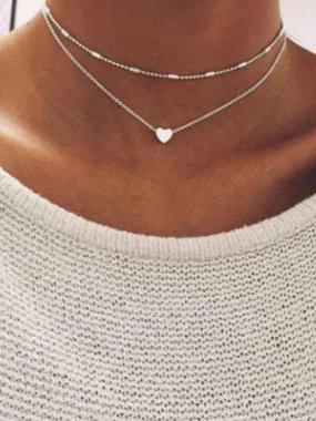 Peach Heart Multilayer Necklace Accessories SILVER FREE SIZE
