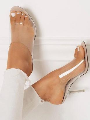 Image of Clear Mules Peep Toe Sandal High Heels APRICOT 35