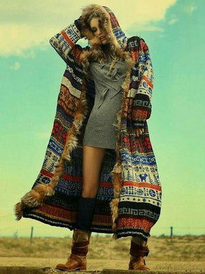 Printed Artificial Fur Hooded Outwears S