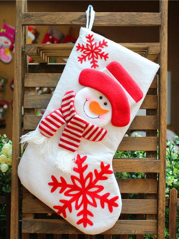 Image of Dooerzi Santa Claus\u0026Snowman Christmas Socks Gift Pouch Decoration