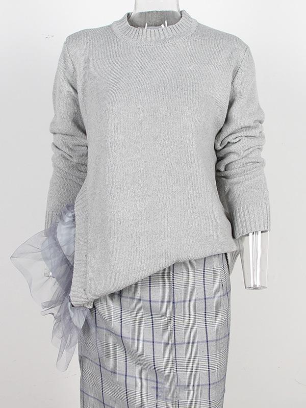 Irregular Gauze Split-joint Sweater GRAY L
