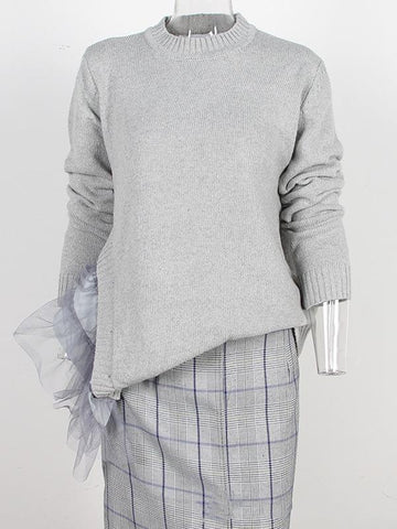 Image of Irregular Gauze Split-joint Sweater GRAY L