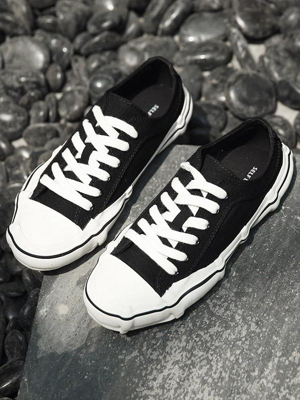 All-match Cropped Canvas Shoes BLACK 42