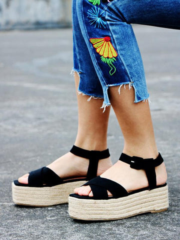 Image of Ankle Strap Platform Sandals BLACK 38