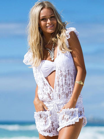 Image of Lace Falbala Deep V-Neck Short Jumpsuits WHITE M