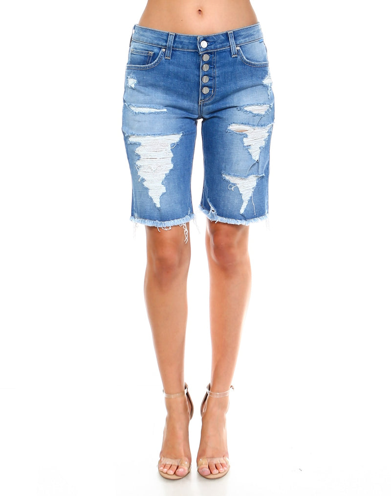 Slim Womens Boyfriend Shorts - Baja