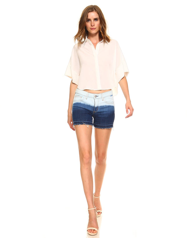 Slim Womens Basic Shorts - Released Hem Bleached