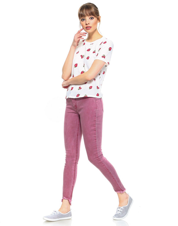 Slim Womens Cropped Skinny Fit - Candy Red