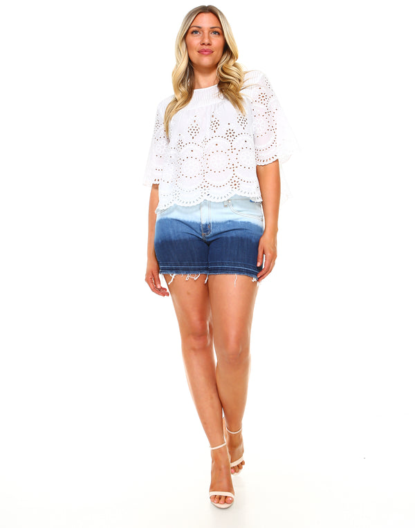 Curvy Womens Basic Shorts - Released Hem Bleached - WS