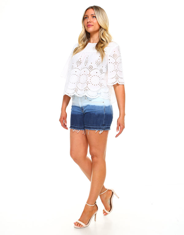 Curvy Womens Basic Shorts - Released Hem Bleached