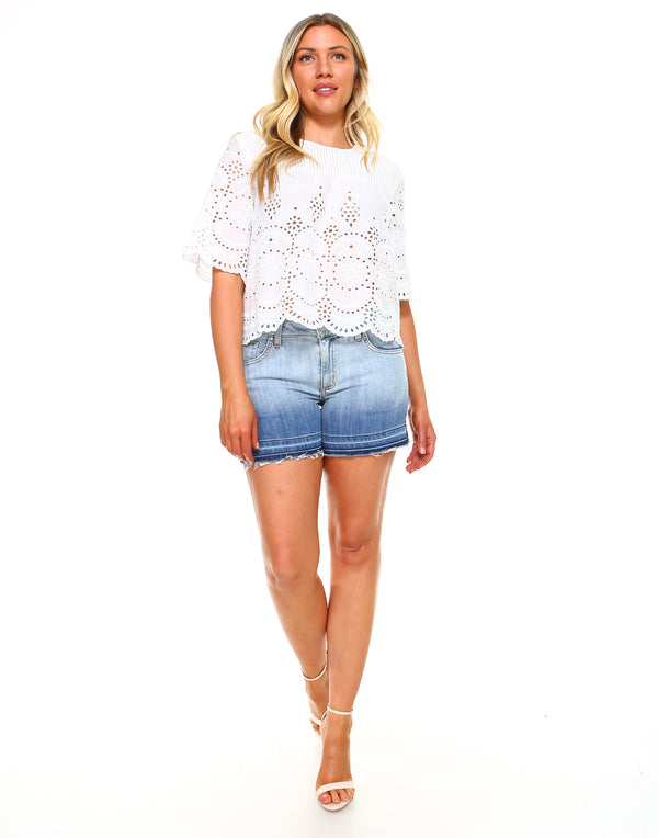 Curvy Womens Basic Shorts - Released Hem Gradation - WS