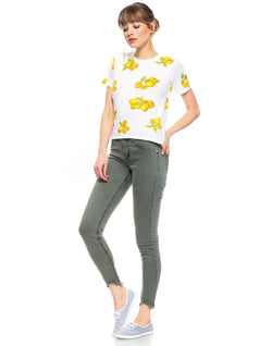 Slim Womens Cropped Skinny Fit - Army Green