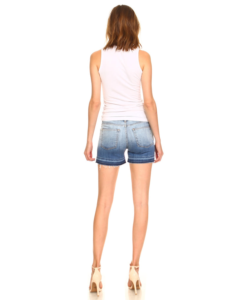 Slim Womens Basic Shorts - Released Hem Gradation