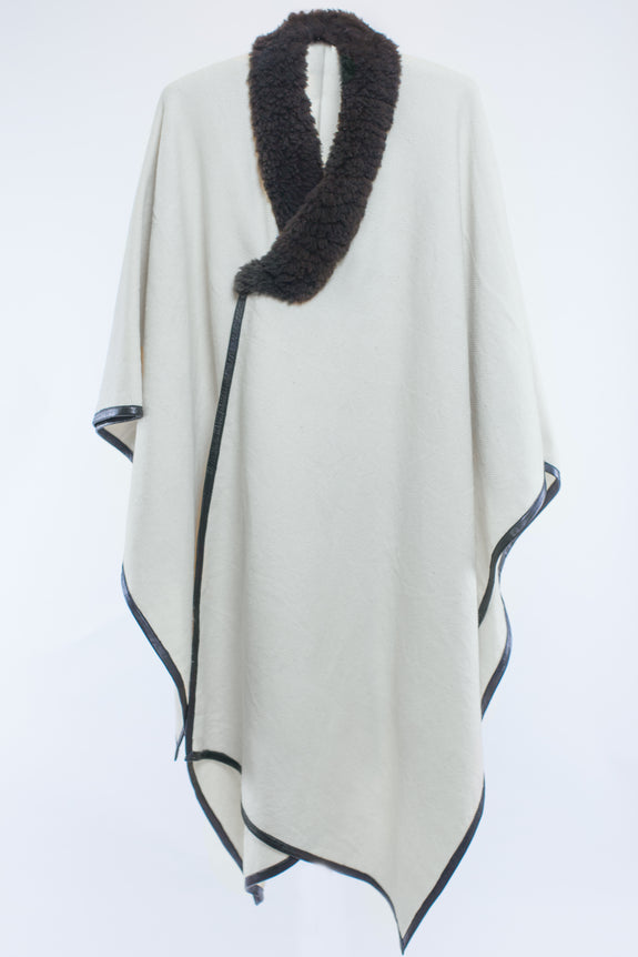 Shearling Trim Cape