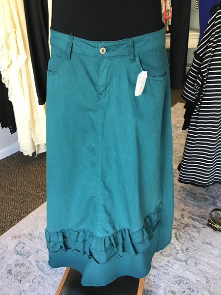 Teal Long Jean Skirt