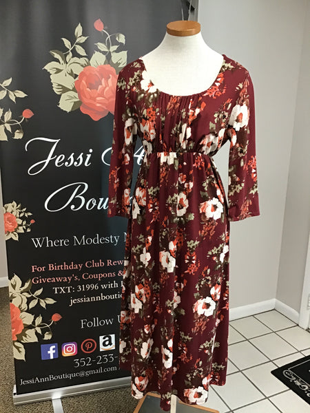 Wine Floral Cinched Waist Maxi