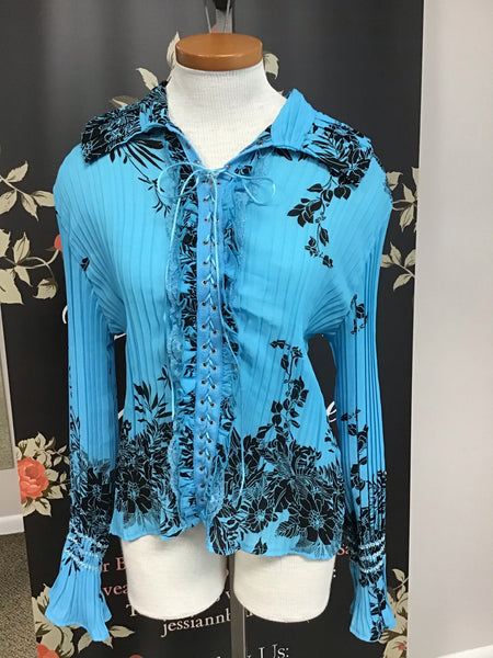 Turquoise/Black-blouse with lace up front no buttons