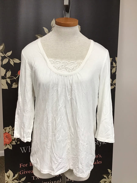 White Pullover Blouse with Lace Front