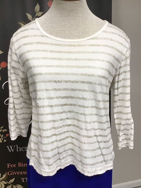White and Gold Striped Top