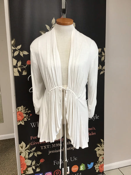 White long sleeve cardigan with tie in front