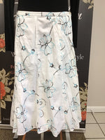 White Skirt with Blue Flowers