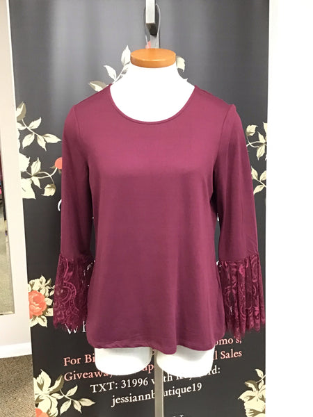 Wine Blouse with Lace Sleeves