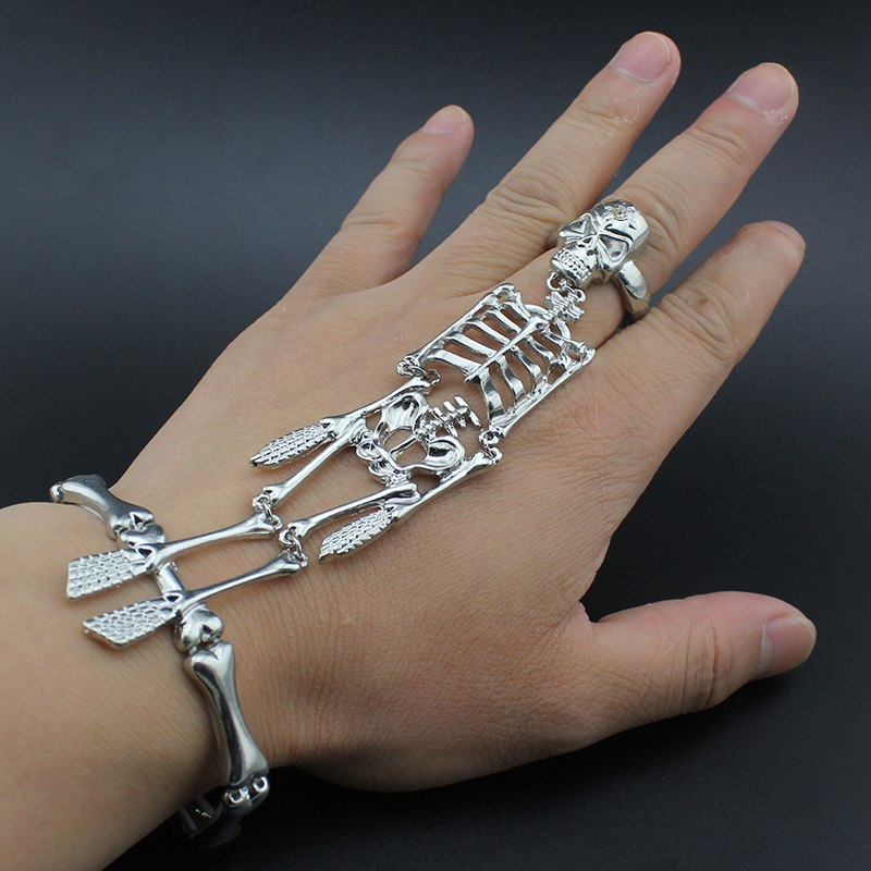 Hapiship 2017 New Women Fashion Silver Halloween Hand Skull  Skeleton Elastic Bracelet Bangle + Rings 00RCH Cool Free Shipping