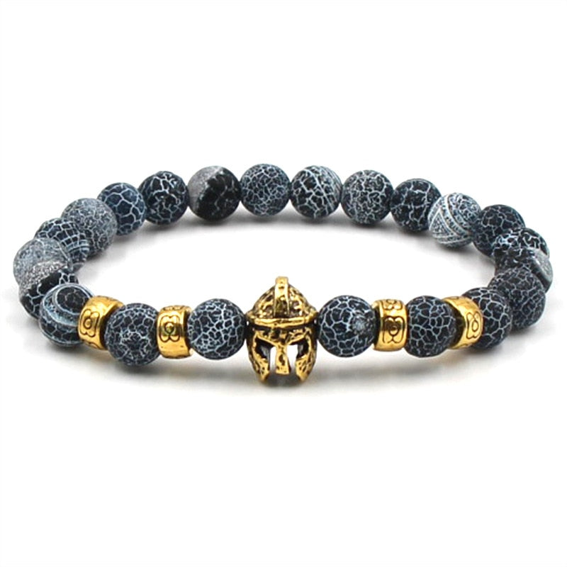 Gold Color Roman Knight Spartan Warrior Gladiator Helmet Bracelet Men Black stone Stone Bead Bracelets For Men Jewelry