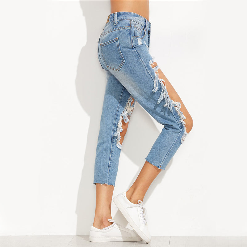 Extreme Cut Out Denim Pants