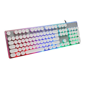 Punk Imitation of Mechanical Feel Gaming Keyboard Rainbow Luminous Retro Game Computer USB Cable Keyboard Dropship 8.1