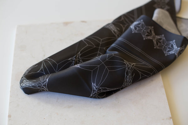 Anatomy of a Horse Silk Scarf | Black