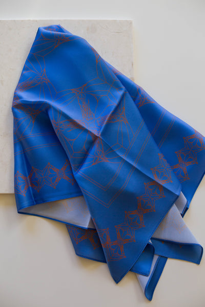 Anatomy of a Horse Silk Scarf | Cornflower